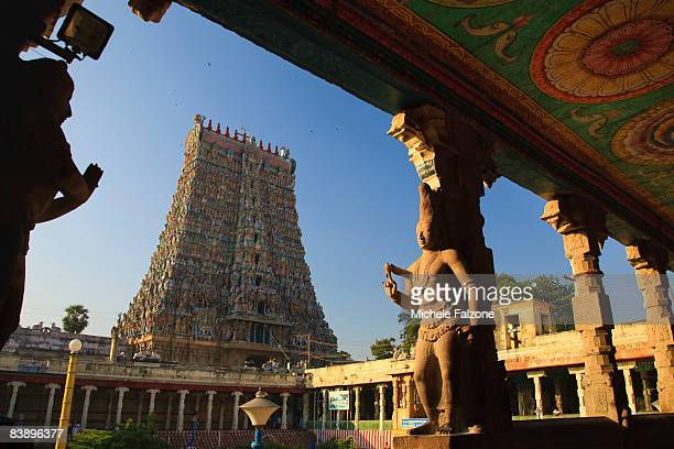 The elaborate Sri Meenakshi Indian Temple