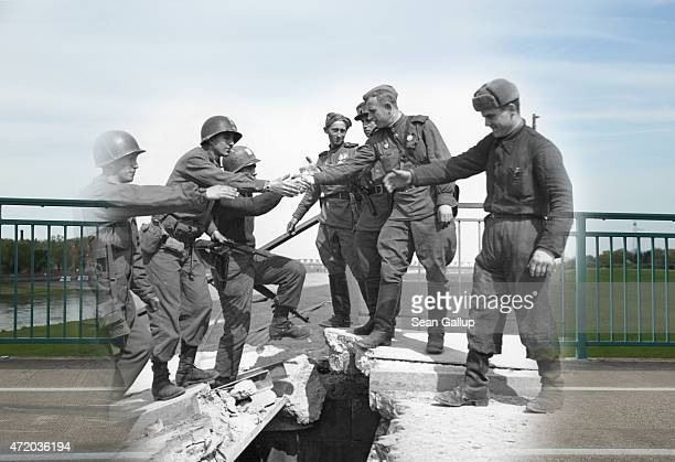In this digital composite image a comparison has been made showing US and Soviet troops greeting one another on a damaged bridge over the Elbe River...