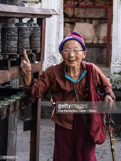 the elderly nun. - nun stock-fotos und bilder