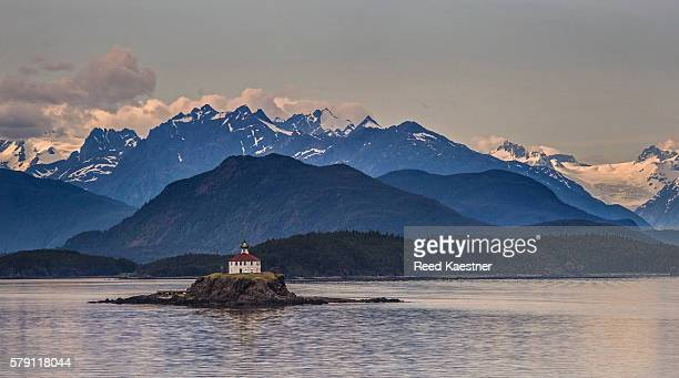 The Eldred Rock Lighthouse in front of the Chilkat mountains near Haines Alaska