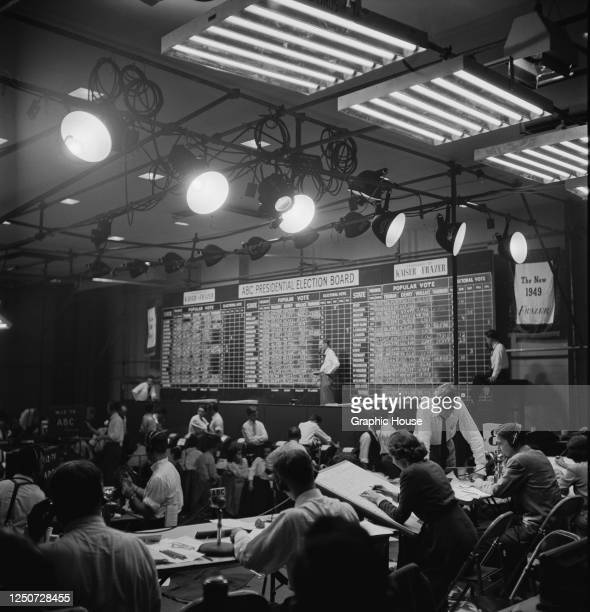 The election board on the ABC election program, during the 1948 presidential election, USA, 2nd November 1948. Incumbent President Harry S Truman...