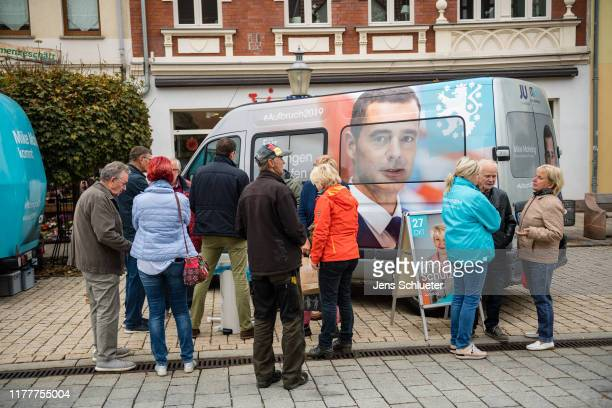 The election stand for Mike Mohring , lead candidate of the German Christian Democrats in Thuringia state elections, on October 23, 2019 in...