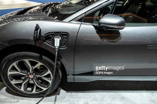 The electric car I-Pace model EV-400 Jaguar manufacturer seen in electric recharge situation during the event. The Automobile Barcelona trade fair...