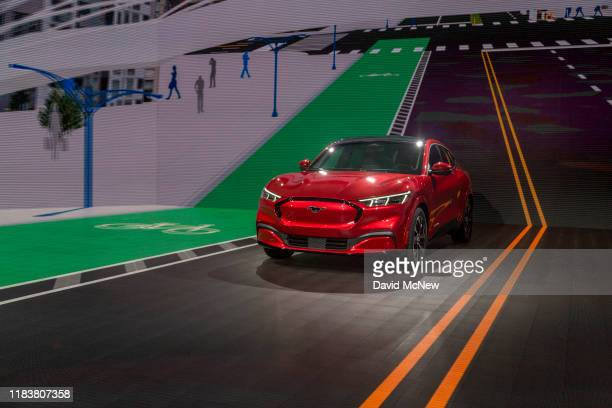 The electric Ford Mustang Mach-E is shown at AutoMobility LA on November 21, 2019 in Los Angeles, California. The four-day press and trade event...