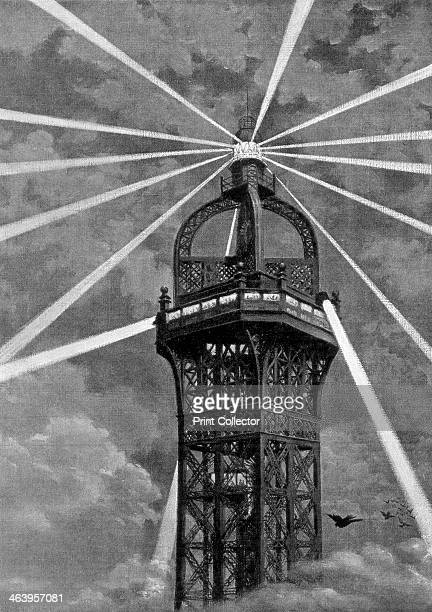 The electric light on top of the Eiffel Tower Paris 1889 The tower designed by Gustave Eiffel was built as the entrance arch to the Universal...