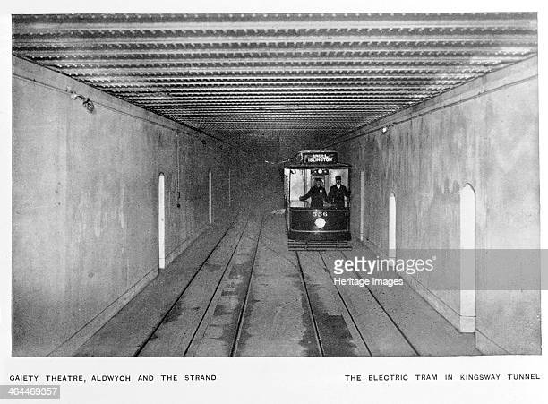 The electric tram in Kingsway Tunnel, London, c1900. The tram covered the Angel, Islington route possibly stopping at the Gaiety Theatre, Aldwych and...