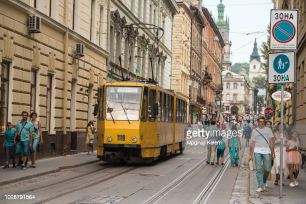 The electric tramway in the historic city centre of Lviv. It is the only tram system in the Western Ukraine, the largest among the narrow-gauge tram systems in Ukraine