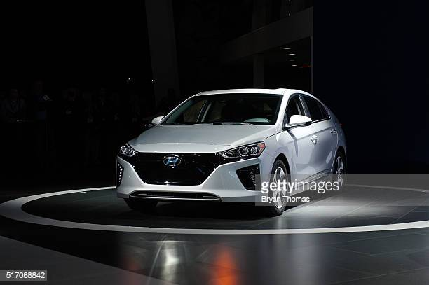 The electric version of the new Hyundai Ioniq series is introduced during the New York International Auto Show at the Javits Center on March 23 2016...