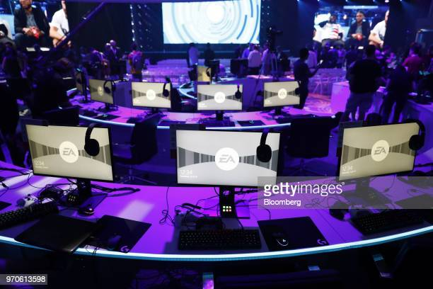 The Electronic Arts Inc logo is displayed on computer monitors during the company's EA Play event ahead of the E3 Electronic Entertainment Expo in...