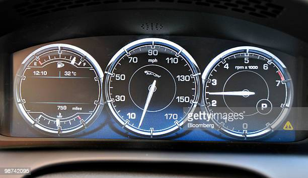 The electronic guages of a 2011 Jaguar XJ sits on display in Los Angeles California US on Tuesday April 27 2010 The 2011 XJ and XJL with a 5 longer...