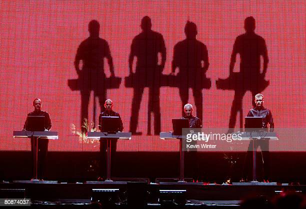 The electronic music band Kraftwerk performs during day 2 of the Coachella Valley Music And Arts Festival held at the Empire Polo Field on April 26...