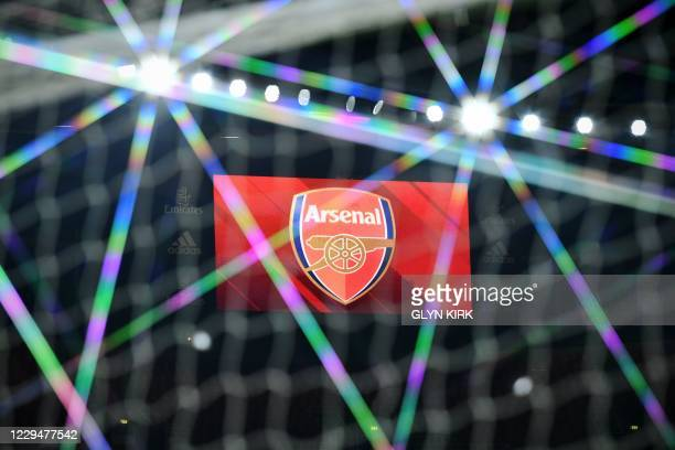 The electronic scoreboard displays the Arsenal club logo ahead of the UEFA Europa League Group B football match between Arsenal and Molde at the...