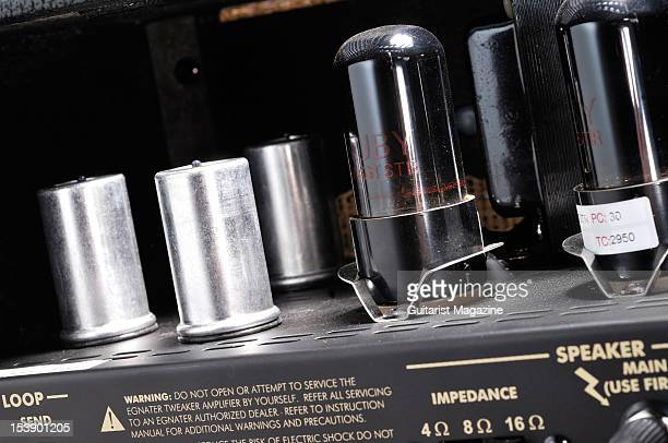 The electronics and vacuum tubes inside an Egnater Tweaker electric guitar amplifier head unit during a studio shoot for Guitarist Magazine August 18...