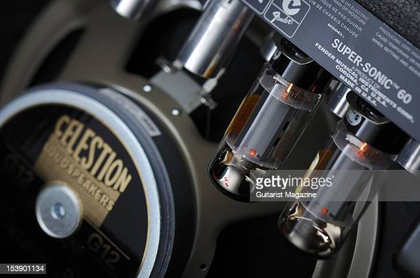 The electronics inside a Fender SuperSonic electric guitar amplifier during a studio shoot for Guitarist Magazine July 19 2010
