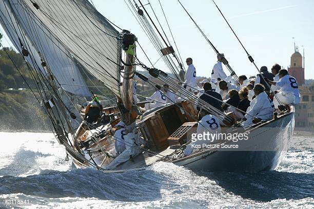 The elegant classic yacht Moonbeam tacks into a 25 knot Mistral wind during the Voiles de St Tropez racing on October 7 2006 off St Tropez France The...