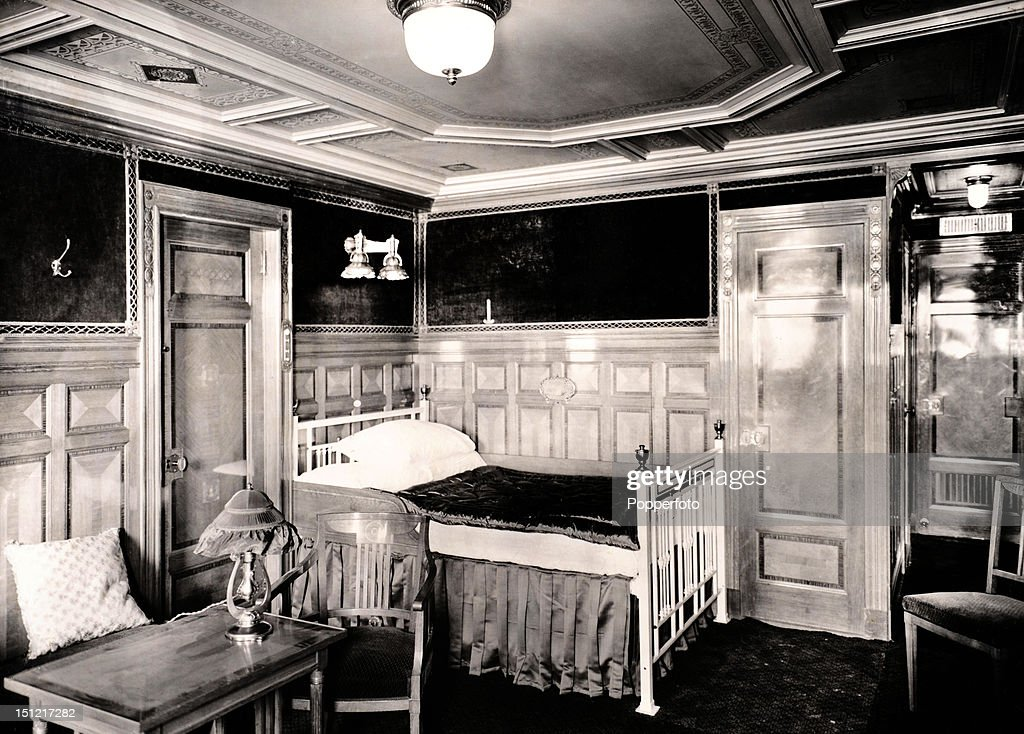 The elegant splendour of First Class parlour suite B57 on board the Titanic, photographed shortly before the ship sailed on its disastrous maiden voyage in April 1912.