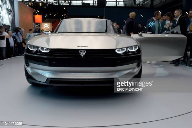 The elegend Peugeot concept car is presented during the press days of the Paris Motor Show on October 2 2018