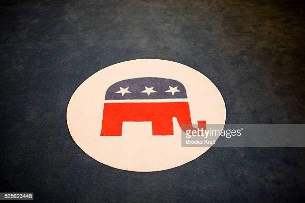 The elephant a symbol of the Republican Party on in a rug in the lobby of the Republican Party's headquarters in Washington Photo by Brooks...