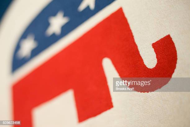 The elephant a symbol of the Republican Party on in a rug in the lobby of the Republican Party's headquarters in Washington