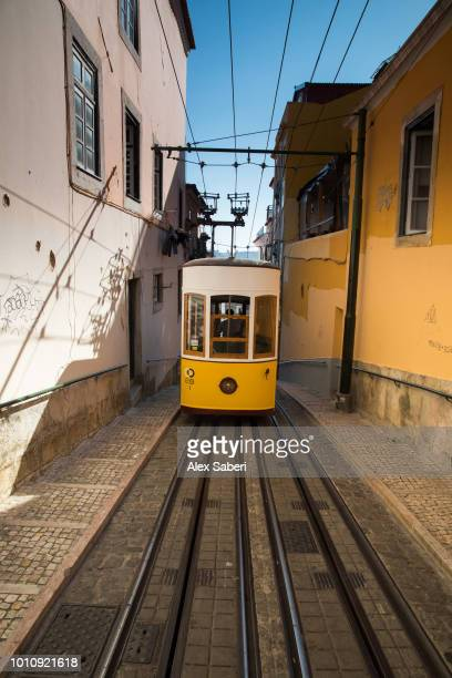 The Elevador da Bica yellow electric tram travels up the street at sunset