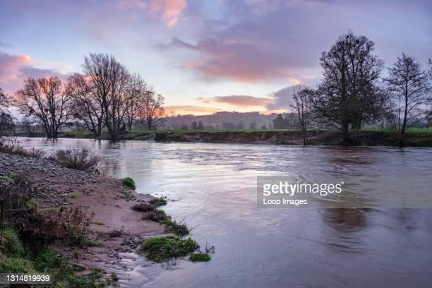 The elevated river Usk flowing fast at LLanvihangel Gobion near Abergavenny.