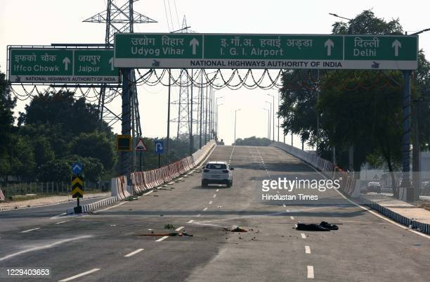 The elevated road has been opened for commuters at National Highway-48 near Cyber City, on November 1, 2020 in Gurugram, India.