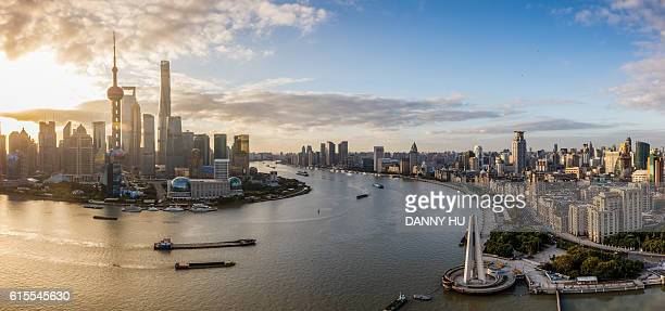 the elevated view of Lujiazui and shanghai bund at sunrise