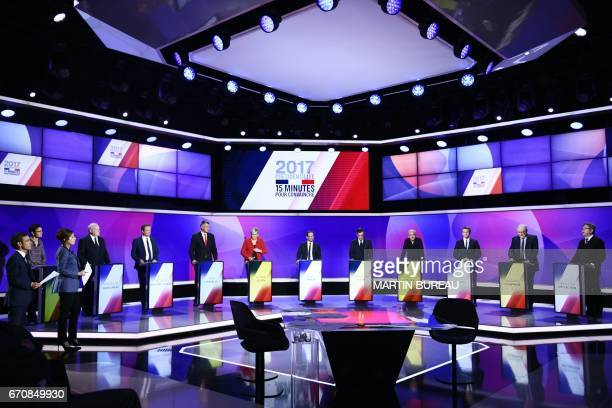 The eleven French presidential election candidates take part in a special political TV show entitled '15mn to convince' at the studios of French...