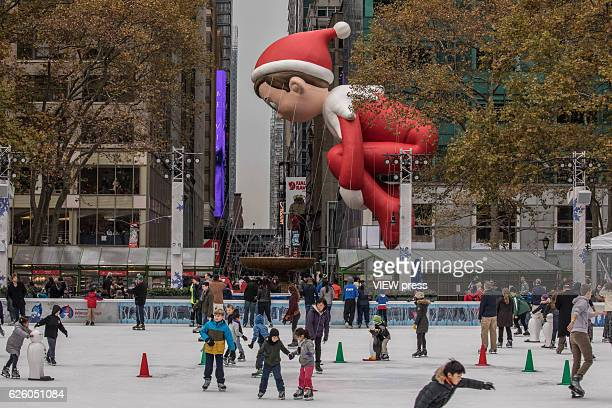 The Elf on The Shelf balloon floats at the 90th annual Macy's Thanksgiving Day Parade near to Bryant Park ice rink on November 24 2016 in New York...