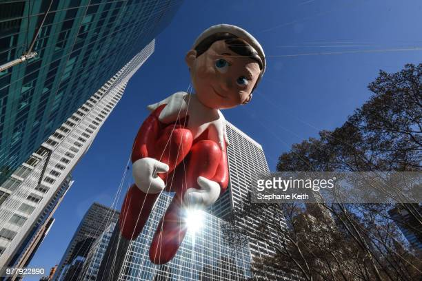 The Elf on the Shelf balloon floats on 6th Ave during the annual Macy's Thanksgiving Day parade on November 23 2017 in New York City The Macy's...
