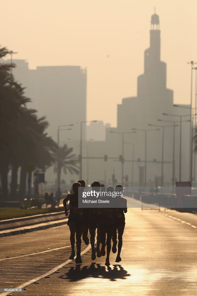 The elite athletes head along Al Corniche on the opening lap. The Ooredoo Doha Marathon is Qatar's largest mass-participation sports event with 2,400 athletes representing 83 countries. The sixth edition included elite athletes competing for prize money of $50,000 in half marathon distance on a 10km loop route along La Corniche on January 12, 2018 in Doha, Qatar.
