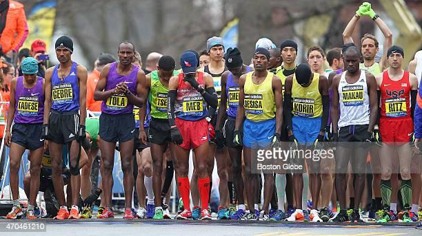 The elite men wait for the start The 119th Boston Marathon is run on Monday April 20 2015