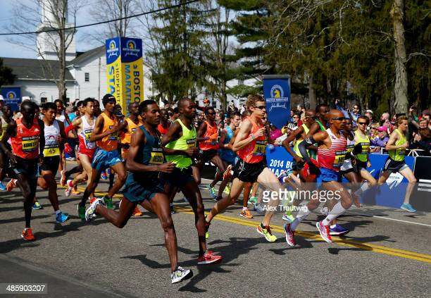 The Elite Men's division starts the 118th Boston Marathon on April 21 2014 in Hopkinton Massachusetts