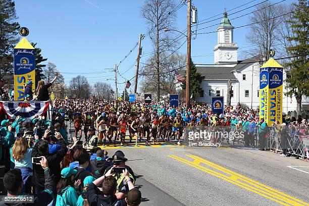 The Elite Men's division starts the 120th Boston Marathon on April 18 2016 in Hopkinton Massachusetts