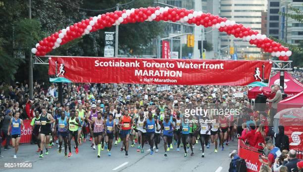 TORONTO ON OCTOBER 22 The elite runners start up University Avenue during the Scotiabank Toronto Waterfront Marathon in Toronto October 22 2017