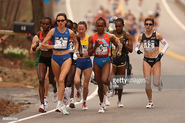 The elite women head out at the start of the 2008 Boston Marathon on April 21 2008 in Hopkinton Massachusetts