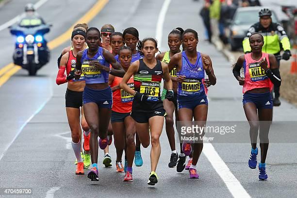 The Elite Women led by Desiree Linden of the United States run during the 119th Boston Marathon on April 20 2015 in Boston Massachusetts