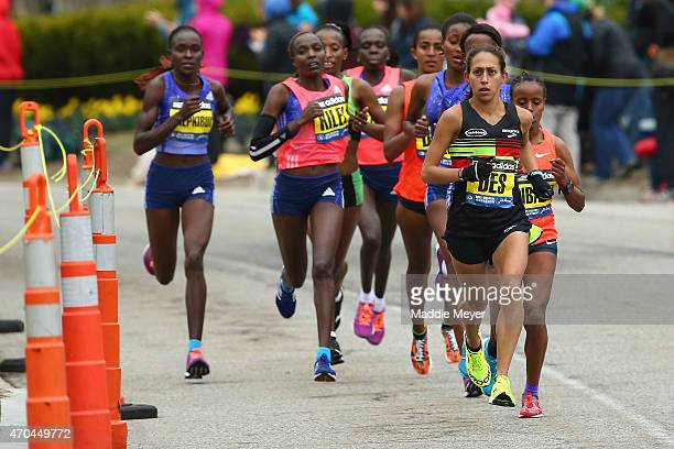 The Elite women let by Desiree Linden of the United States run during the 119th Boston Marathon on April 20 2015 in Boston Massachusetts
