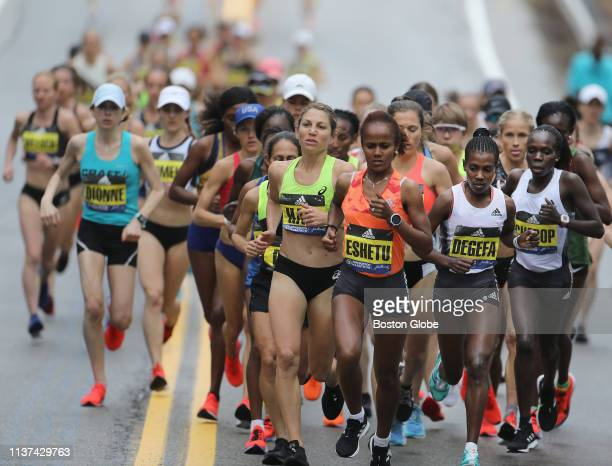The elite women pack with the eventual winner Worknesh Degefa early in the 123rd Boston Marathon on April 15 2019