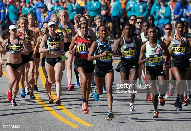 The elite women runners start the 120th Boston Marathon in Hopkinton Mass on April 18 2016
