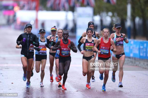 The Elite Women's Field competes during the 2020 Virgin Money London Marathon around St James's Park on October 04 2020 in London England The 40th...