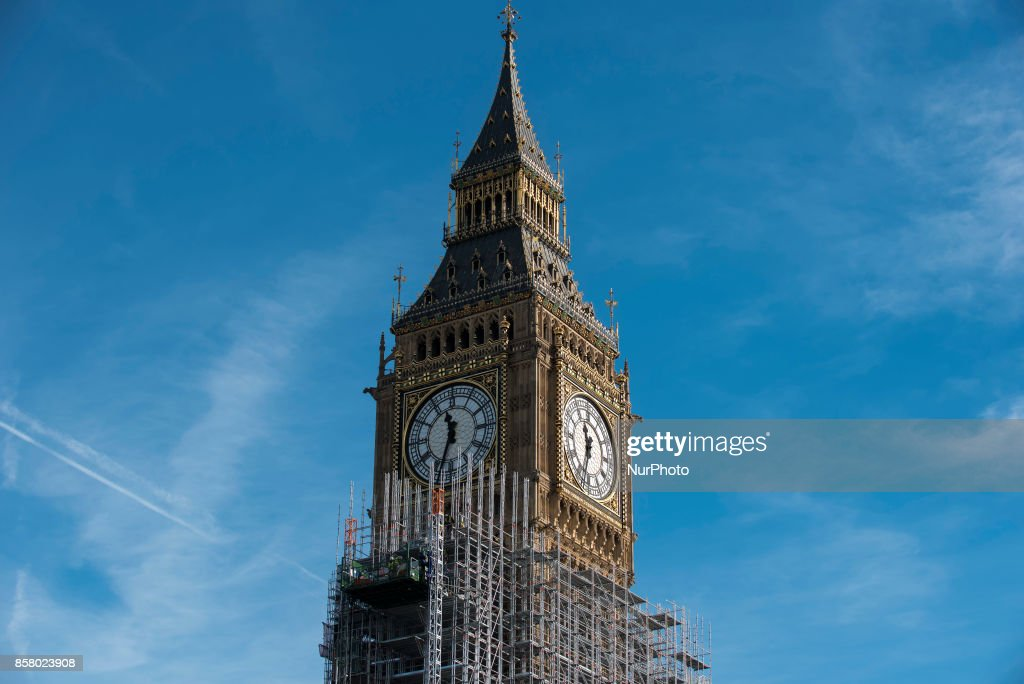The Elizabeth Tower, commonly known as Big Ben, is pictured covered by scaffolding, London on October 5, 2017. In a statement, the parliamentary authorities said the estimate for the work on the Elizabeth Tower had risen from an estimated £29m in the spring of 2016, to £61m.