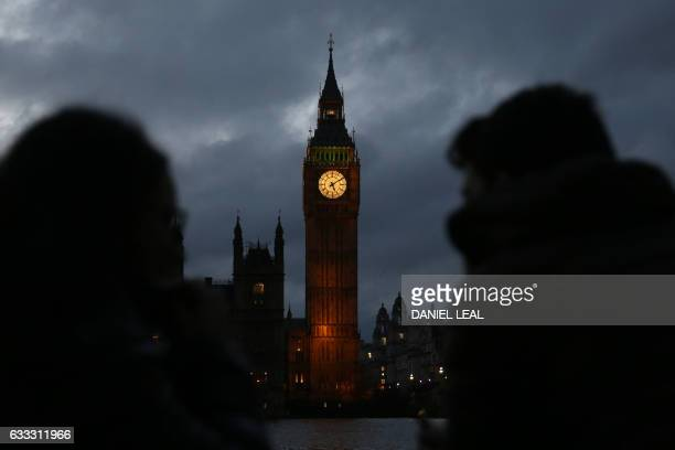 The Elizabeth Tower commonly known Big Ben and the Houses of Parliament is pictured as it stands by the River Thames in London on February 1 2017...