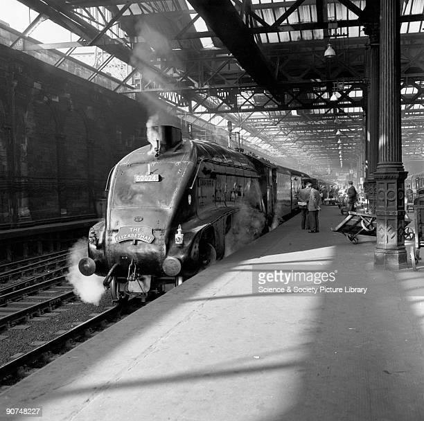 The Elizabethan' at Edinburgh Waverley station 1961 A4 Class steam locomotive No 60024 'Kingfisher' with The Elizabethan 945 am passenger train...