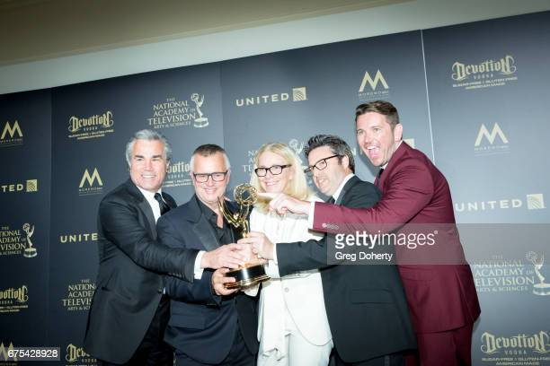 The Ellen DeGeneres Show display their Emmy Award at the 44th Annual Daytime Emmy Awards at Pasadena Civic Auditorium on April 30, 2017 in Pasadena,...