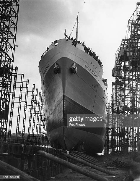 The Ellerman Lines steam passenger ship SS City of Benares shortly after being launched down the slipway of the Lithgows Ltd Port Glasgow shipyard on...
