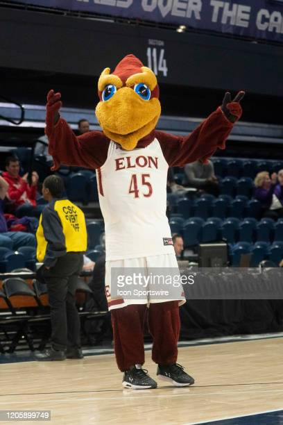 The Elon Phoenix Mascot performs during the first half of the Colonial Athletic Association Men's Basketball Championship Tournament between the Elon...
