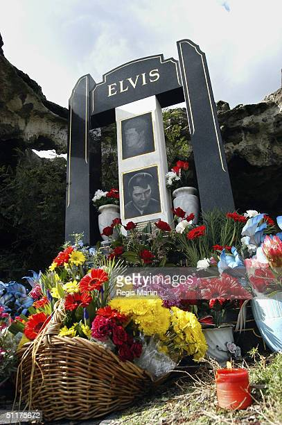 The Elvis Presley memorial stands at the Melbourne general cemetery August 16 2004 in Melbourne Australia Elvis Aaron Presley was found dead at his...