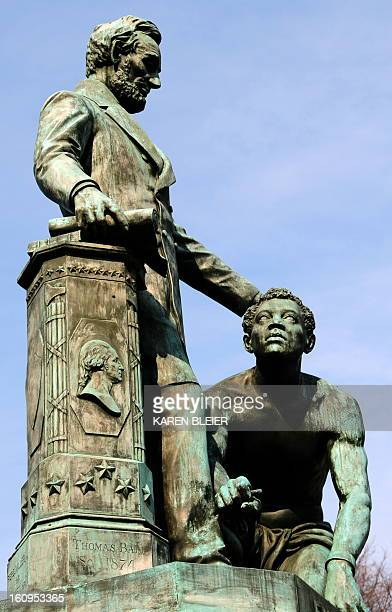 The Emancipation statue depicting a slave breaking the chains of captivity as Abraham Lincoln reads the Emancipation Proclomation is seen on February...