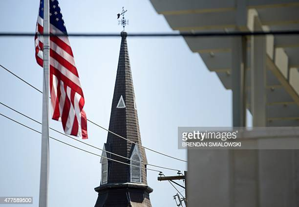 The Emanuel AME Church is seen June 18 2015 in Charleston South Carolina after a mass shooting at the Church on the evening of June 17 2015 US police...